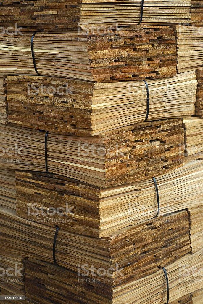 Bundles of wood shingles royalty-free stock photo