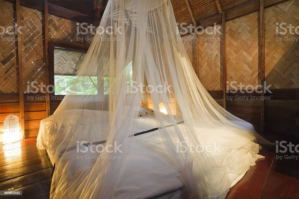 Bungalow bedroom. stock photo