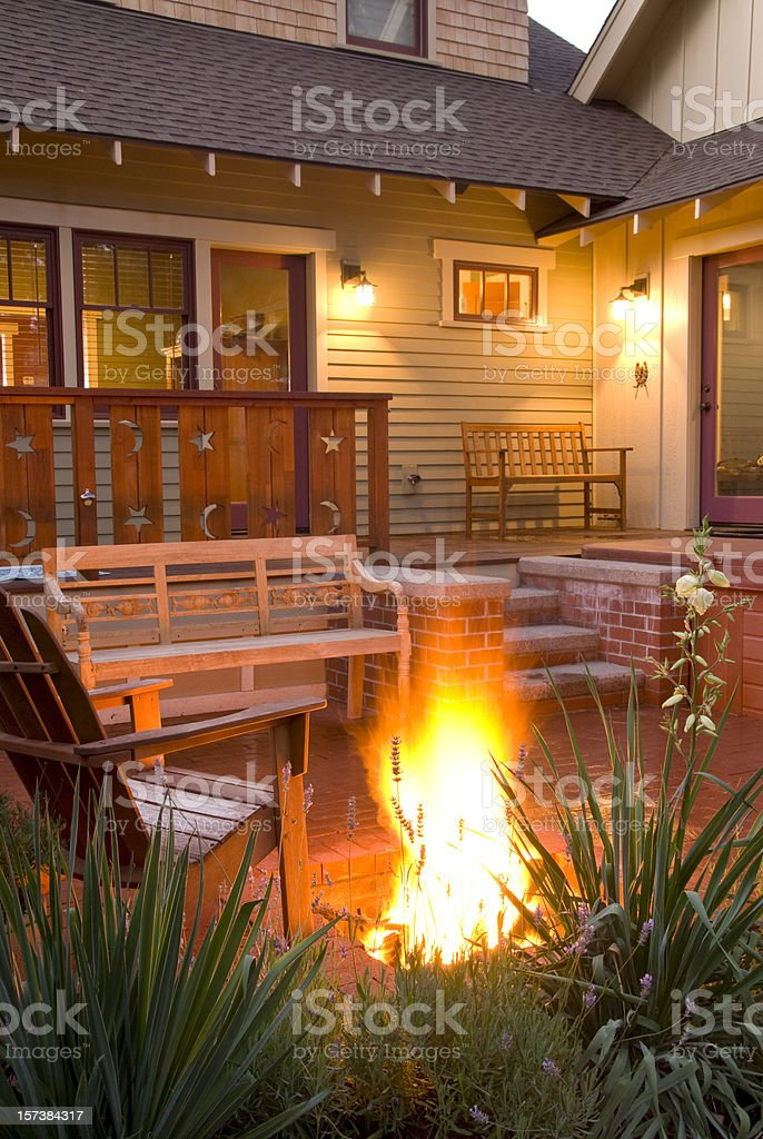 Bungalow  Home Fire Pit royalty-free stock photo