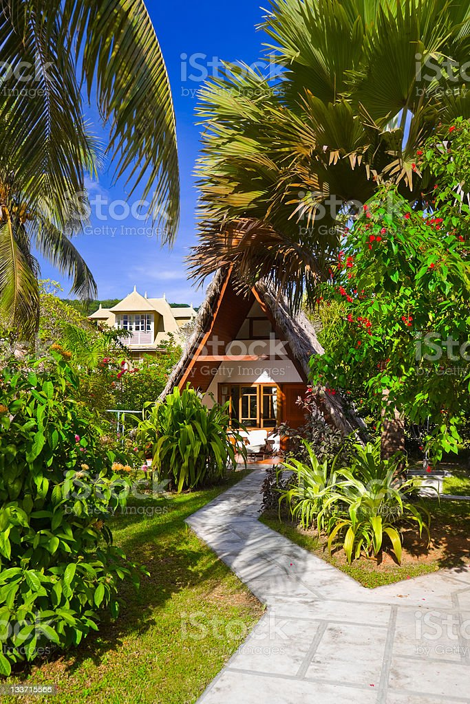 Bungalow in hotel at tropical beach royalty-free stock photo