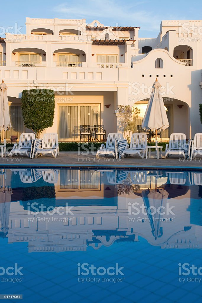 Bungalow near pool. royalty-free stock photo