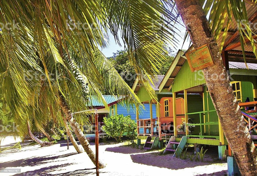 Bungalow on a beach in Tioman Island stock photo