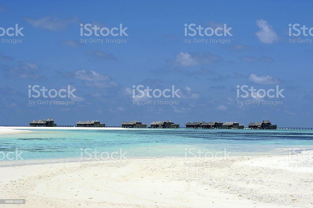 Bungalow on Ocean Sea in Maldives stock photo