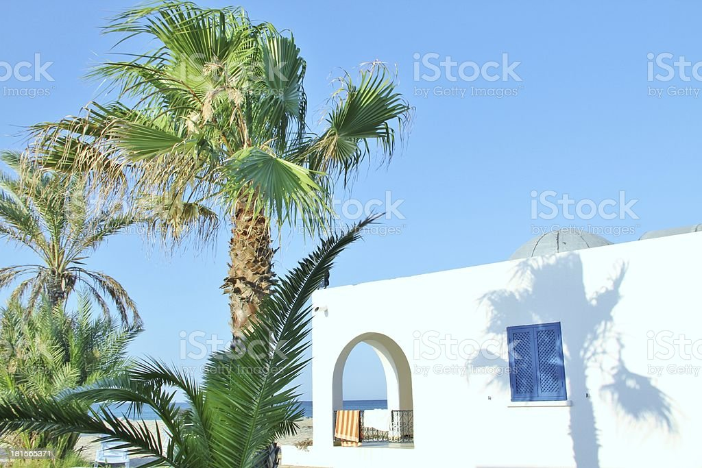 Bungalow on the beach royalty-free stock photo