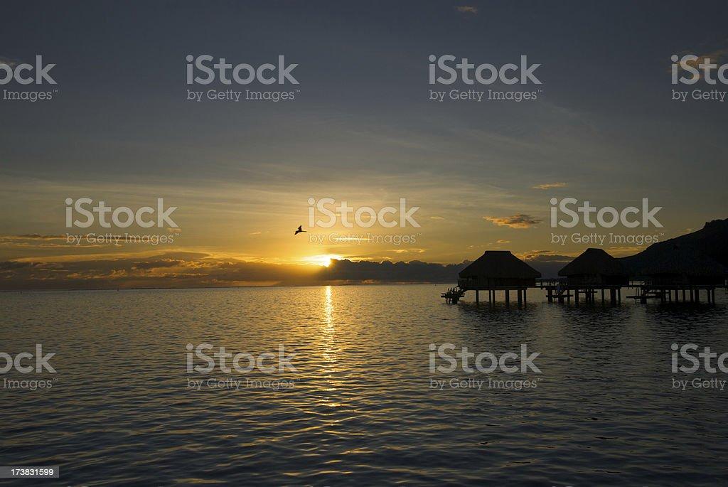 Bungalow sunrise stock photo