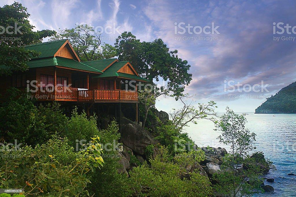 bungalow Thailand jungle landscape stock photo
