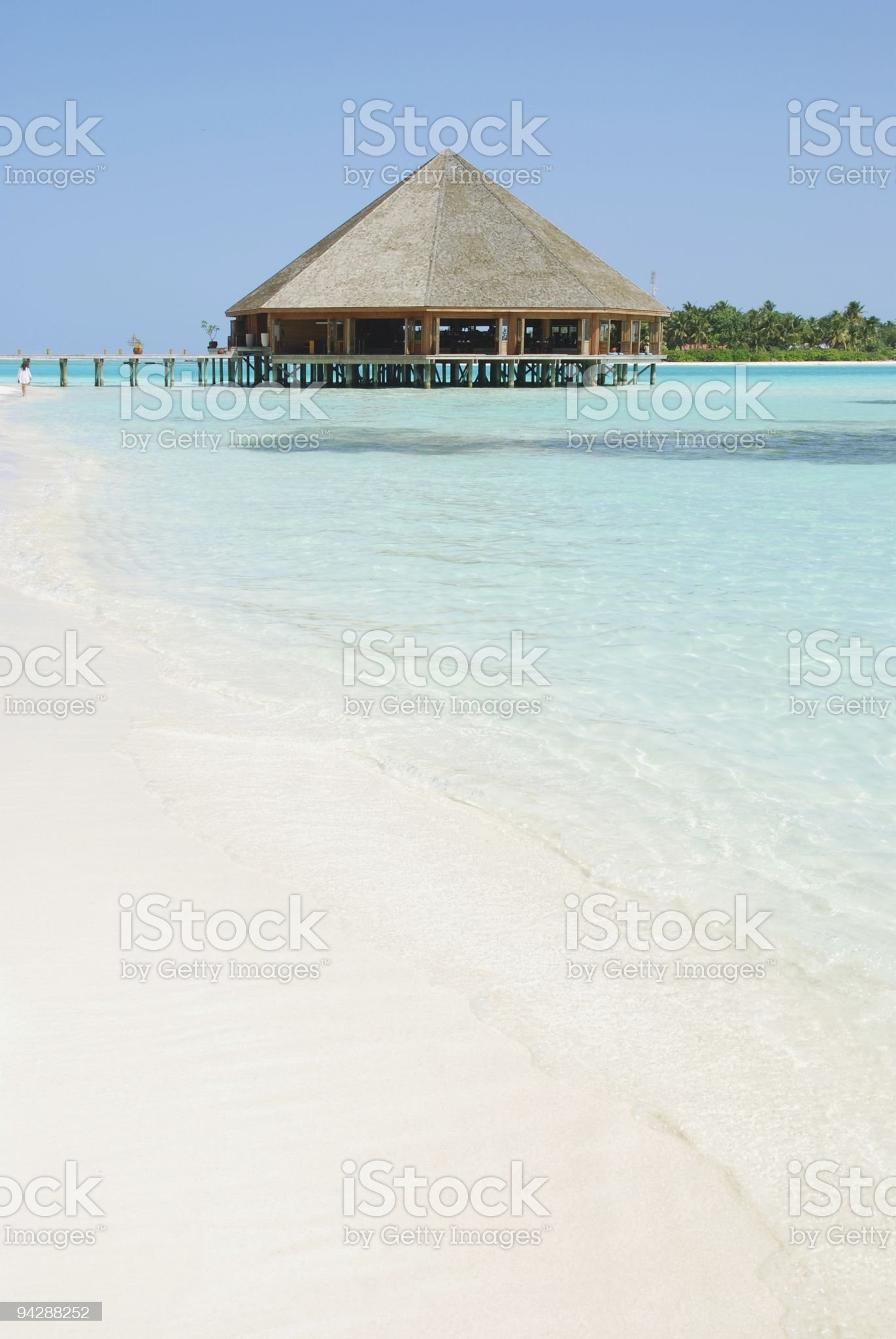 Bungalow's architecture and beach on a Maldivian Island royalty-free stock photo