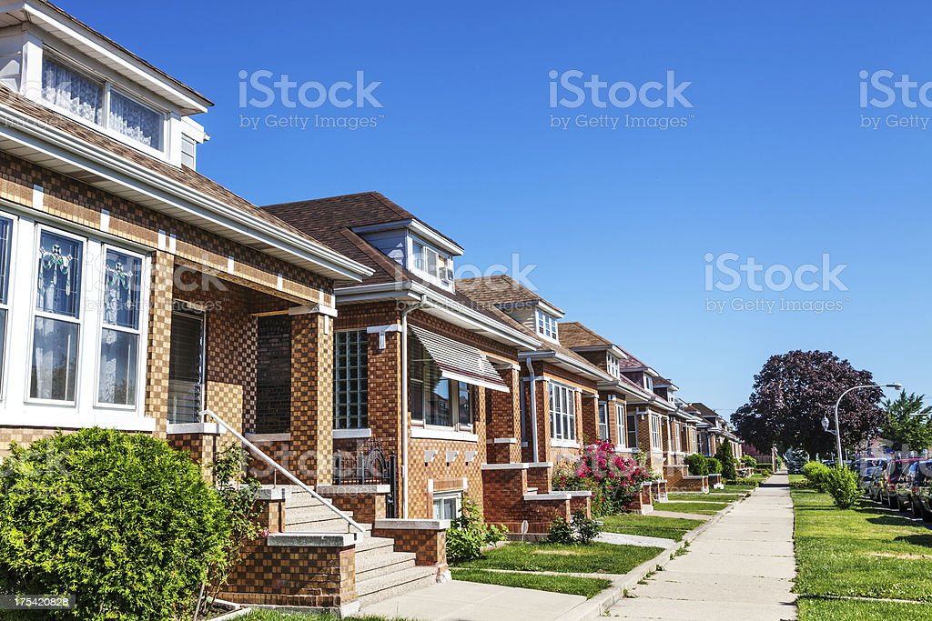 Bungalows in Archer Heights, Chicago stock photo