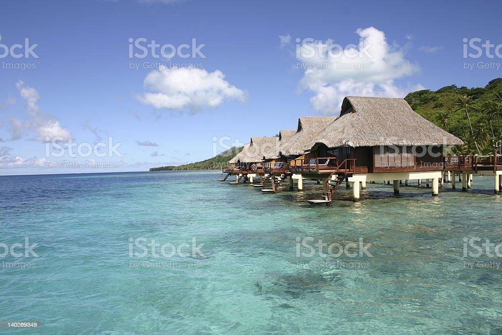 Bungalows in Bora-Bora royalty-free stock photo