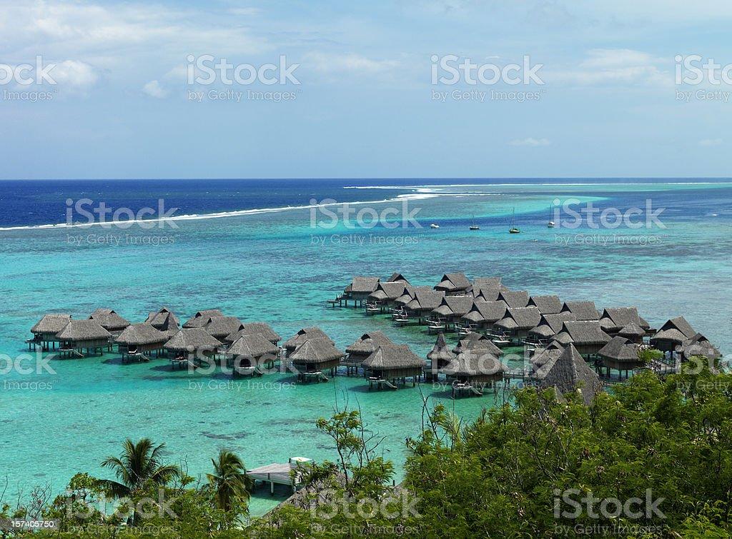 Bungalows in French Polynesia royalty-free stock photo