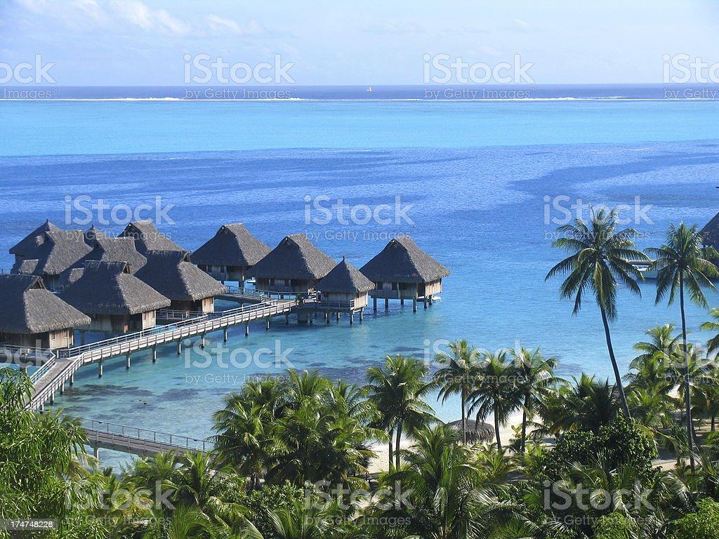 Bungalows in French Polynesia stock photo
