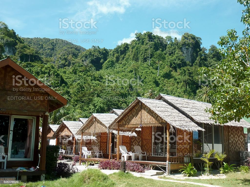 Bungalows in PhiPhi island, Thailand stock photo