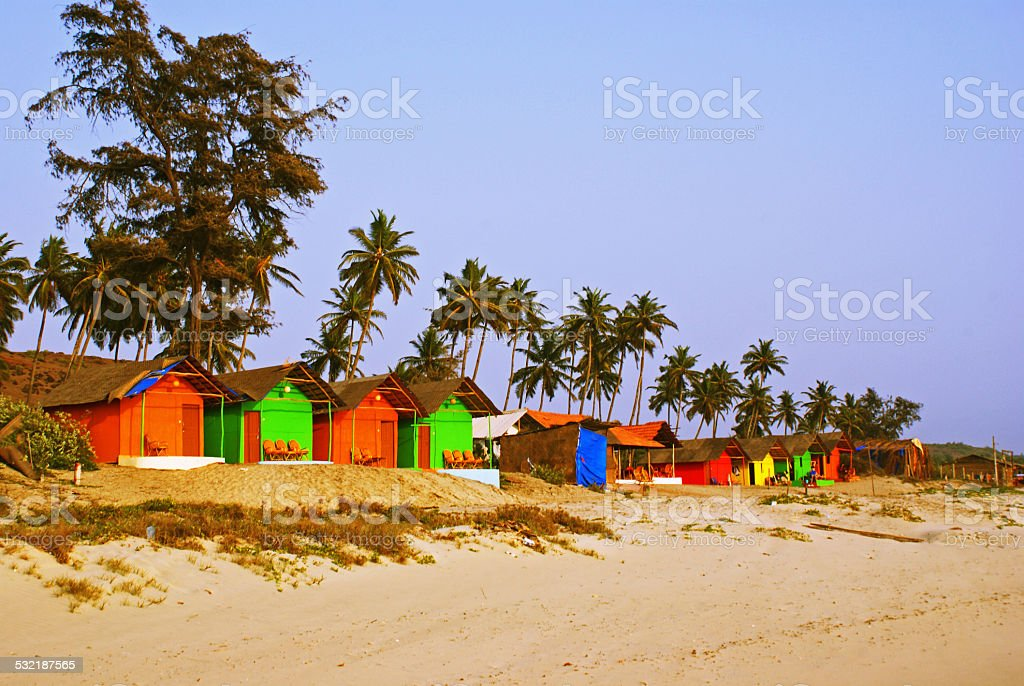 Bungalows on a Palm Beach stock photo