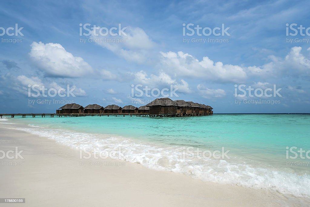 Bungalows on  the Maldives royalty-free stock photo