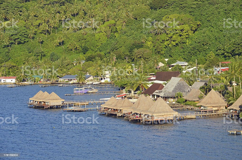 Bungalows with Over Water Glass Bottom in Raiatea royalty-free stock photo