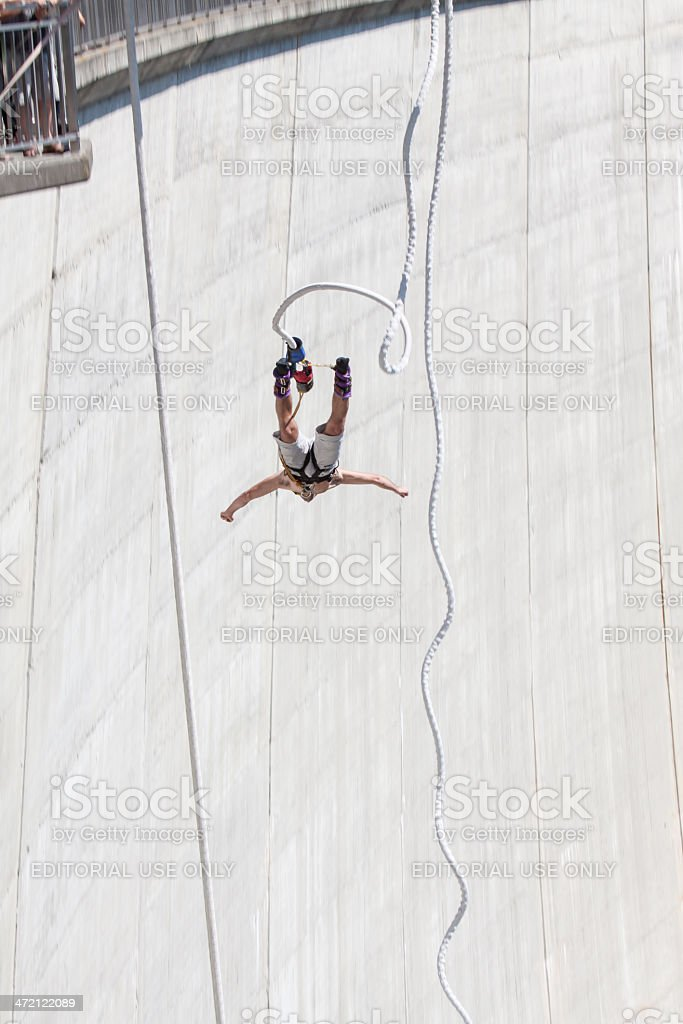 Bungee Jumper backside view stock photo