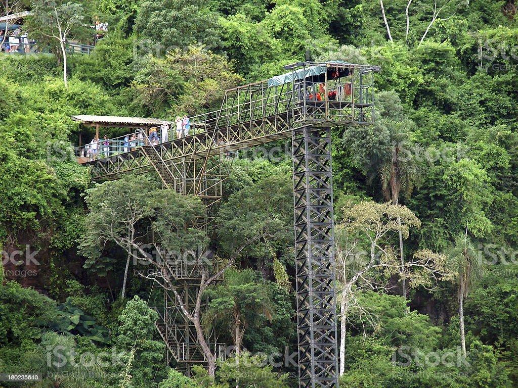Bungee jumping on Iguazu River royalty-free stock photo