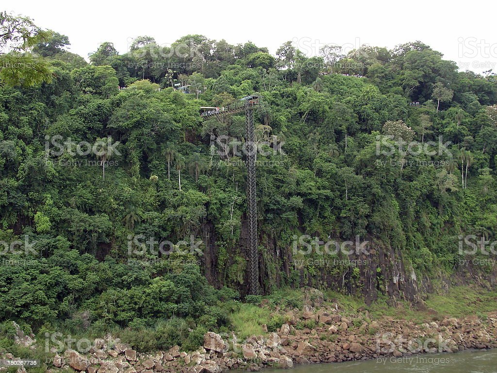 Bungee platform on iguazu river canyon royalty-free stock photo