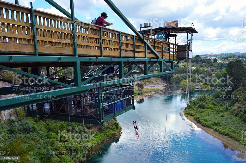 Bungy jump in Taupo New Zealand stock photo