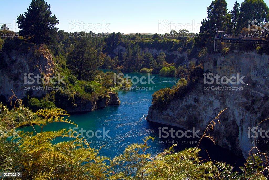 Bungy Jumping Platform Waitako River, Taupo, New Zealand stock photo