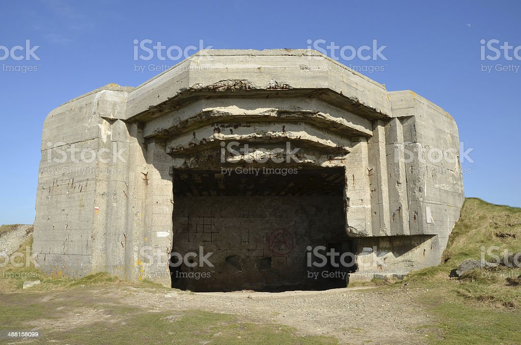 Bunker at La Pointe de Pen Hir, Brittany. stock photo