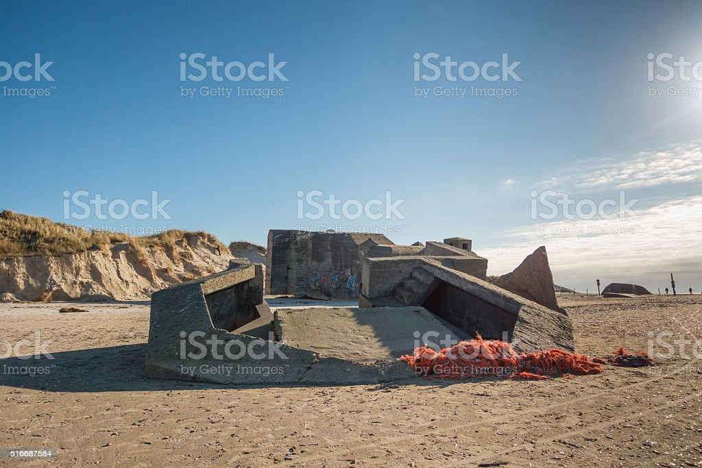 Bunker on a Danish beach stock photo