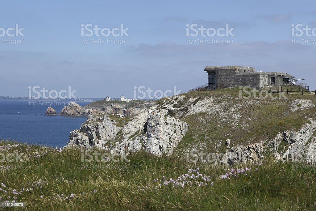 Bunker on French coast stock photo