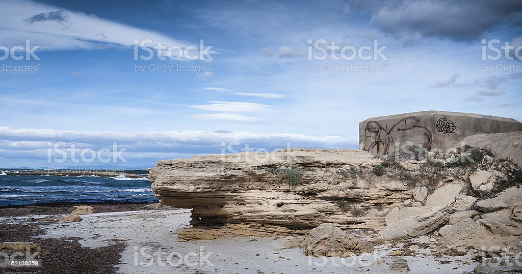 Bunker on Mallorca island stock photo
