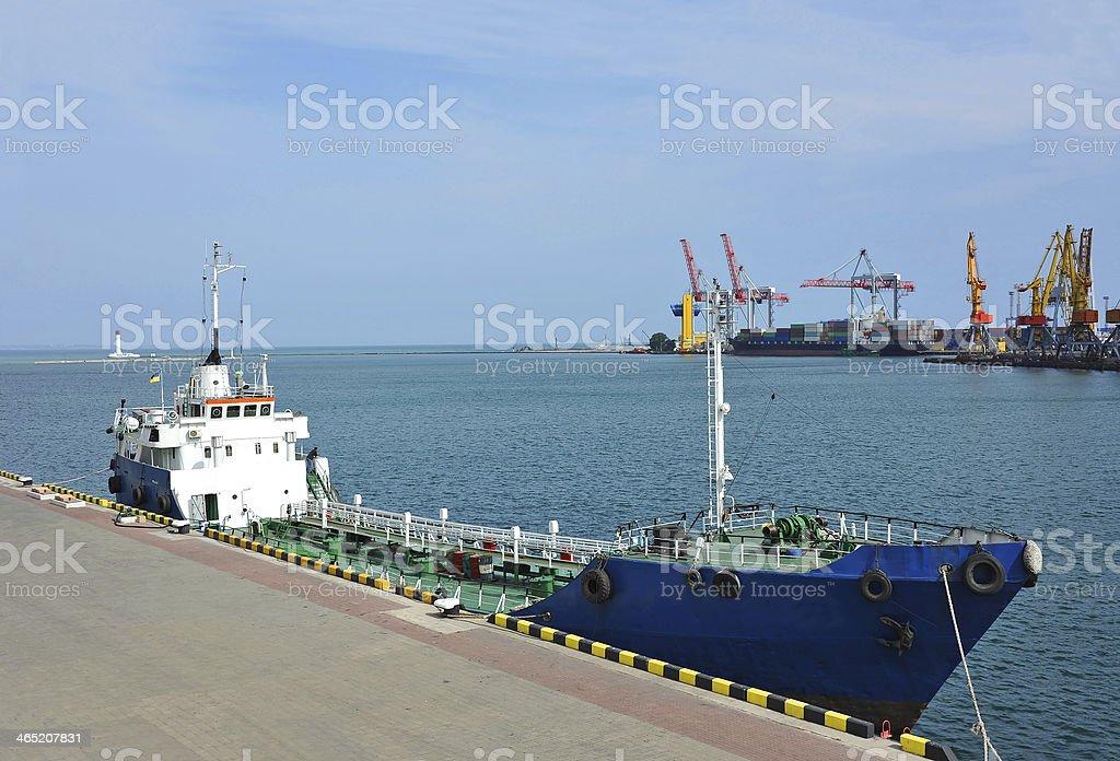 Bunker ship (fuel replenishment tanker) stock photo