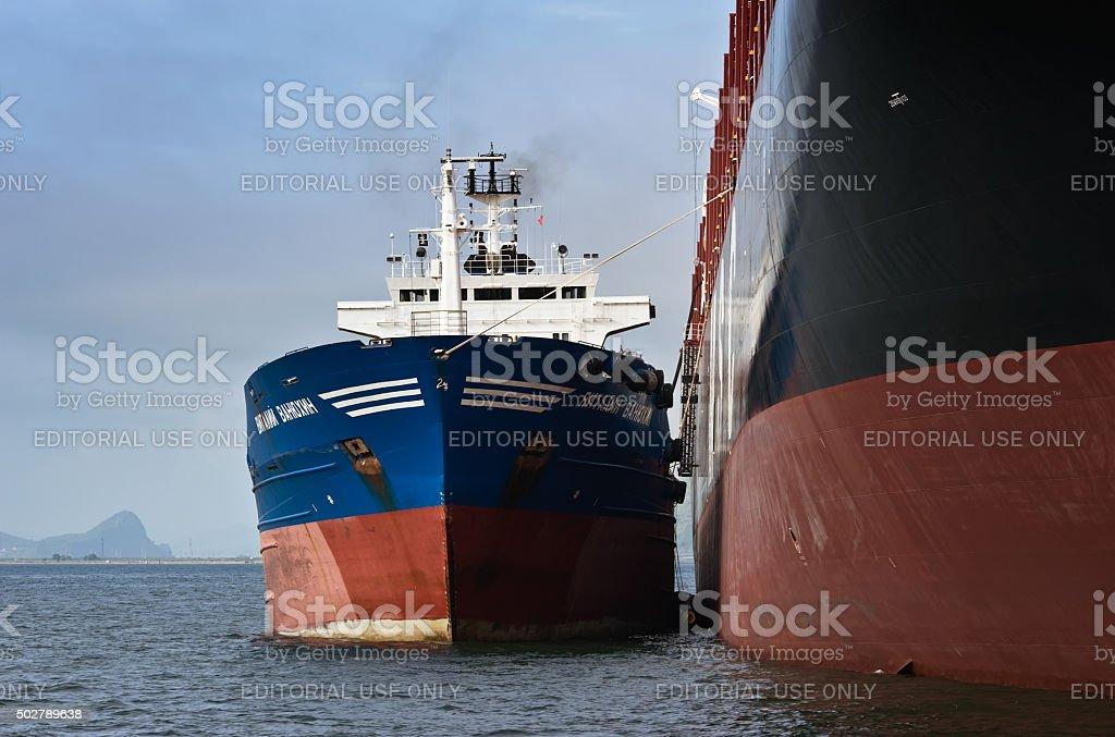 Bunkering tanker Vitaly Vanukhin container ship MSC company. stock photo