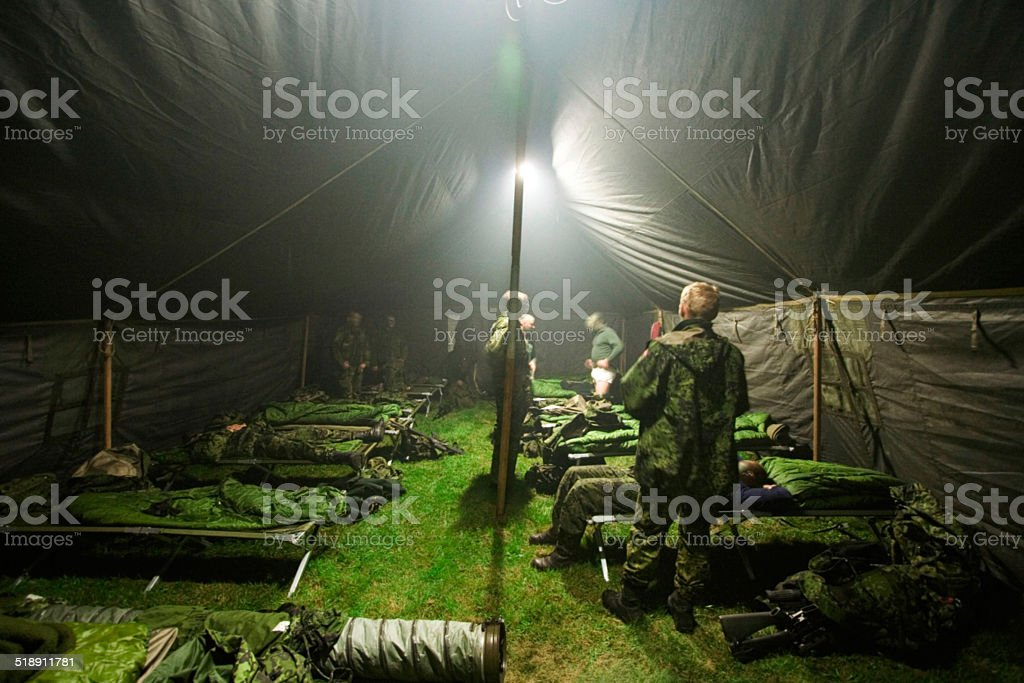 Bunking down for the night stock photo