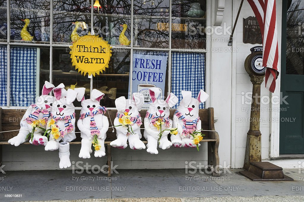 Bunnies on the Bench royalty-free stock photo