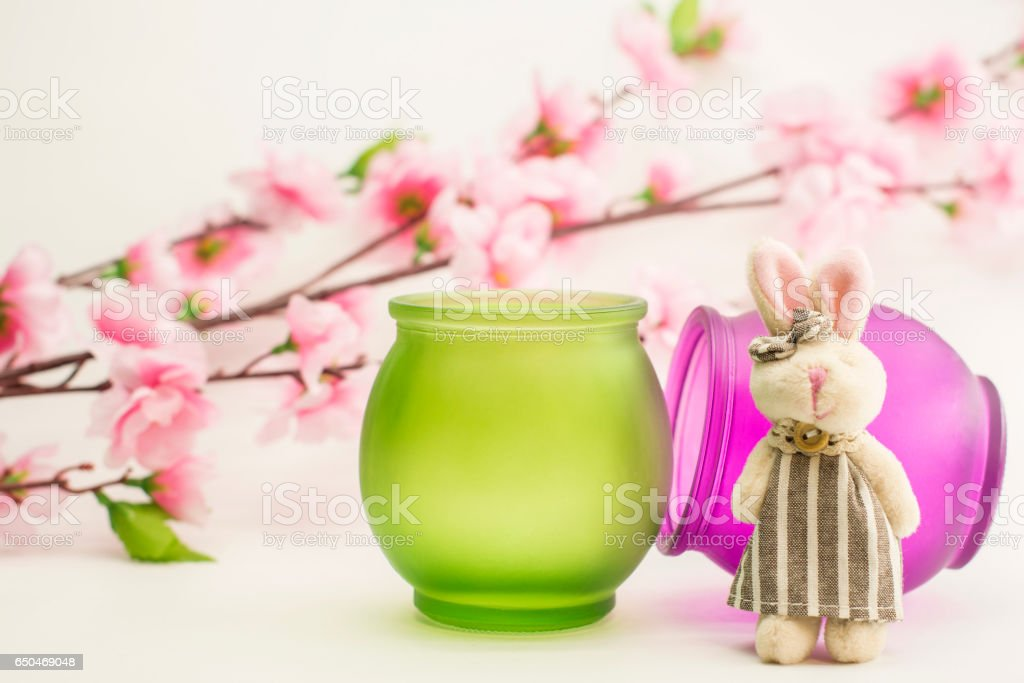bunny and apple tree flowers on white background stock photo