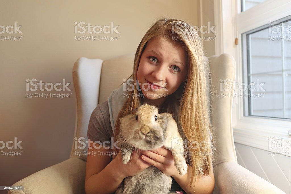 bunny and girl royalty-free stock photo