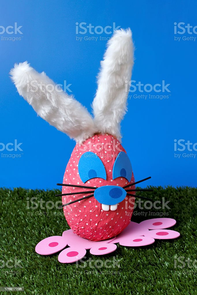 Bunny egg on garden stock photo