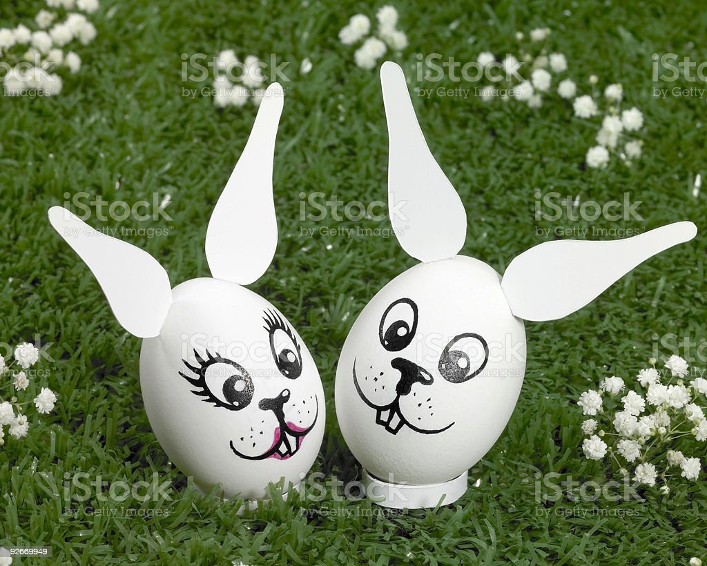 bunny eggs in green ambiance royalty-free stock photo