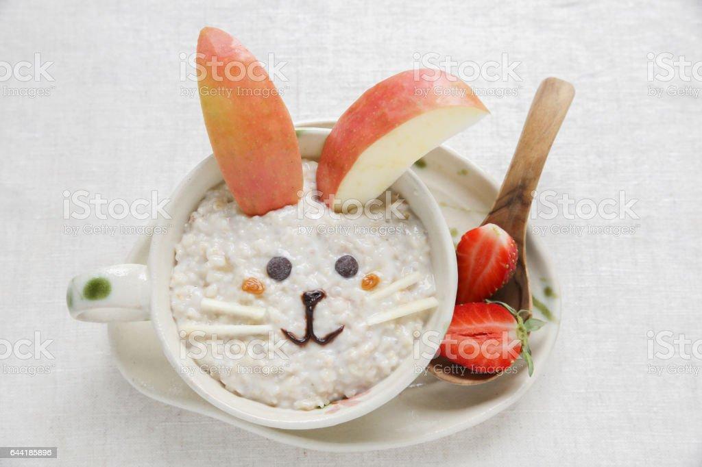 Bunny rabbit porridge oatmeal breakfast , food art for kids