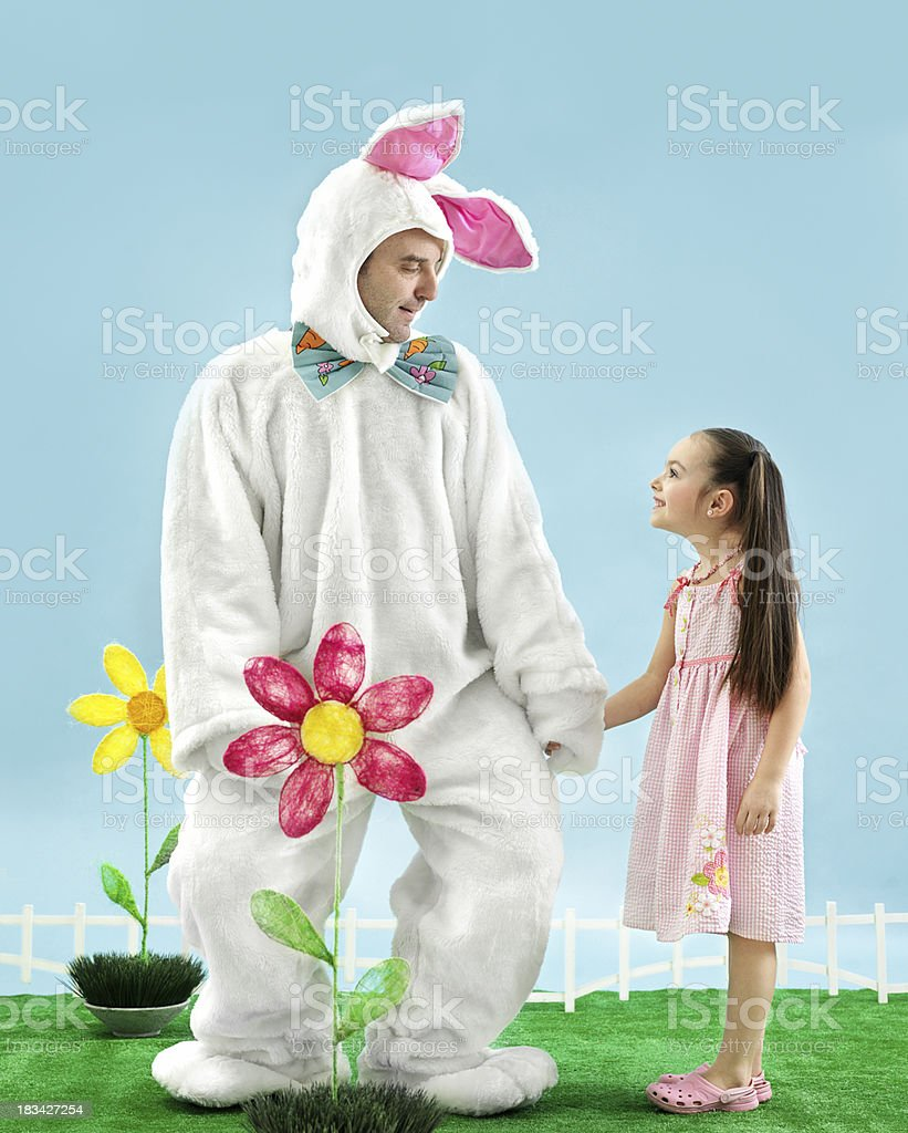 Bunny with little girl stock photo