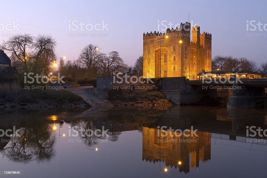 Bunratty castle at dusk stock photo