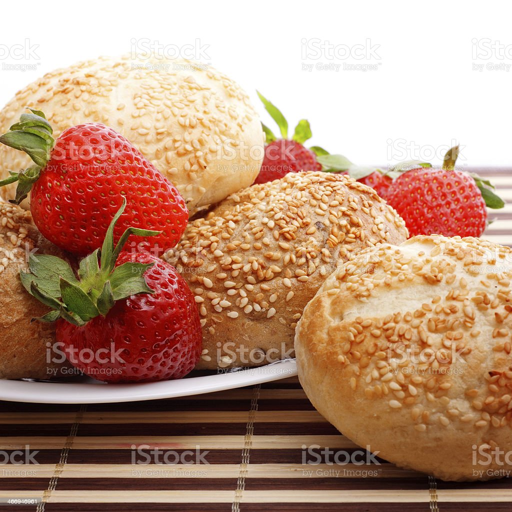 buns and strawberry royalty-free stock photo