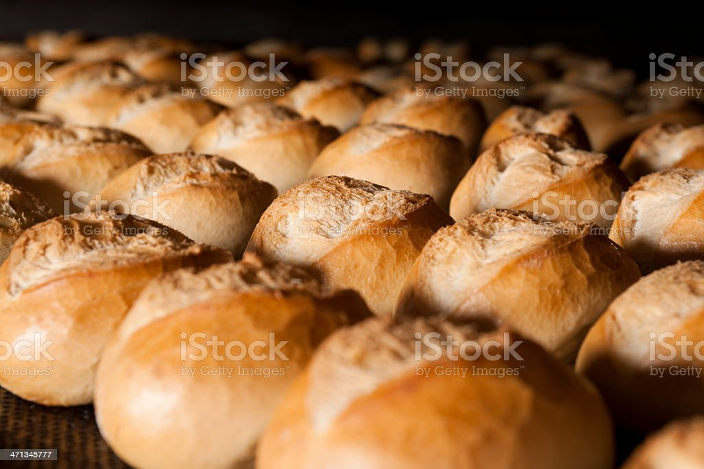 Buns in oven stock photo