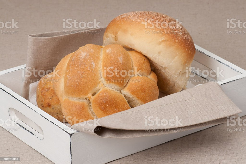 Buns In Tray With Napkin On Natural Linen Background royalty-free stock photo