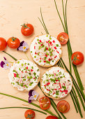 buns with cottage cheese and fresh radish