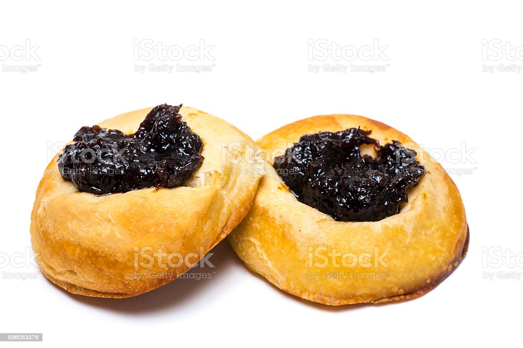 Buns with Prune Topping Isolated on White stock photo