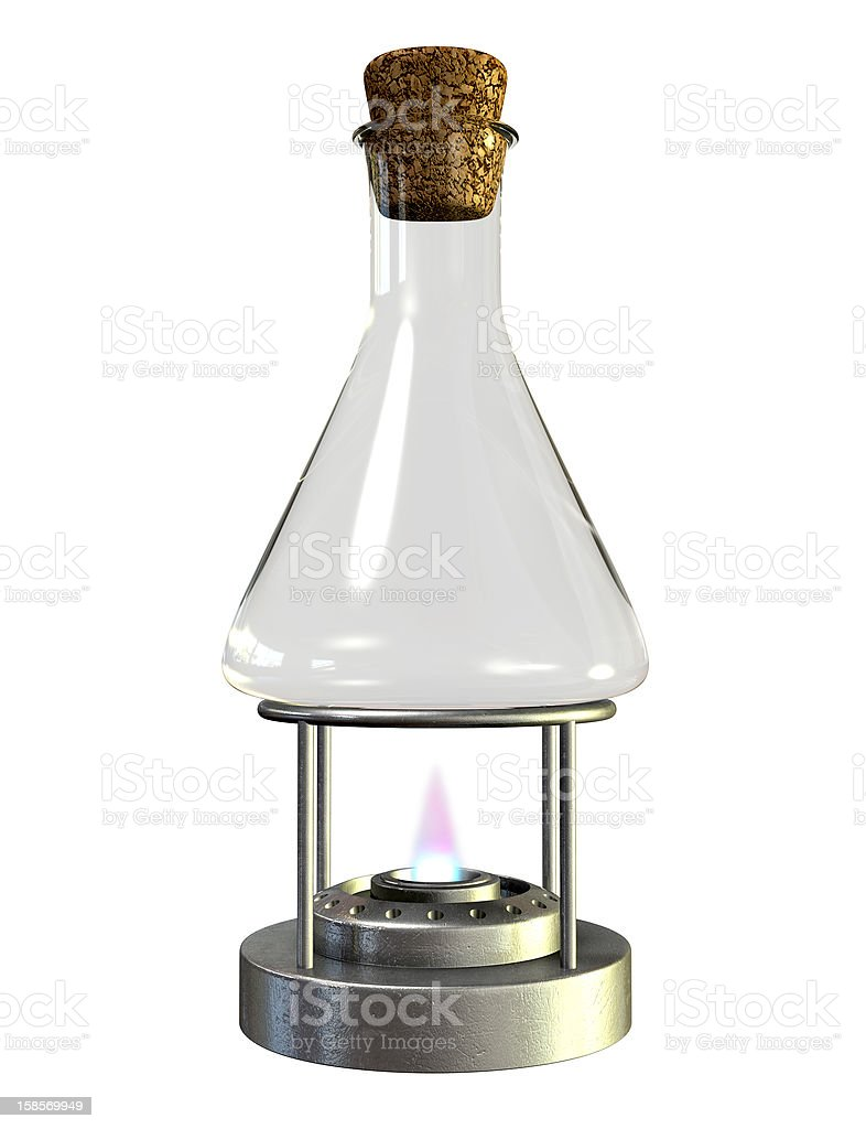 Bunsen Burner And Glass Jar stock photo