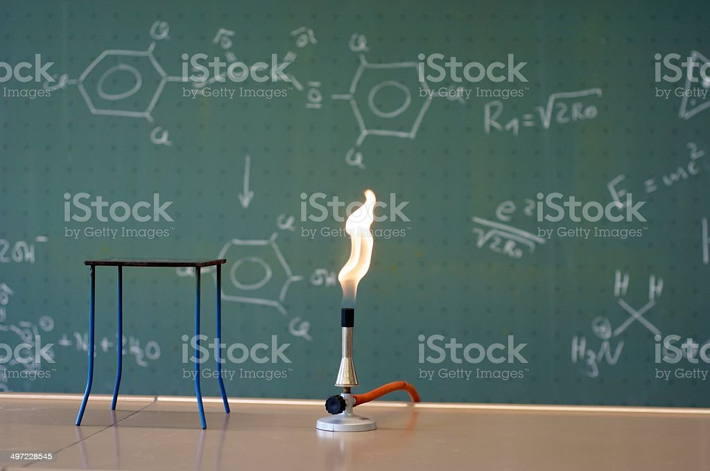 Bunsen burner in a lab stock photo