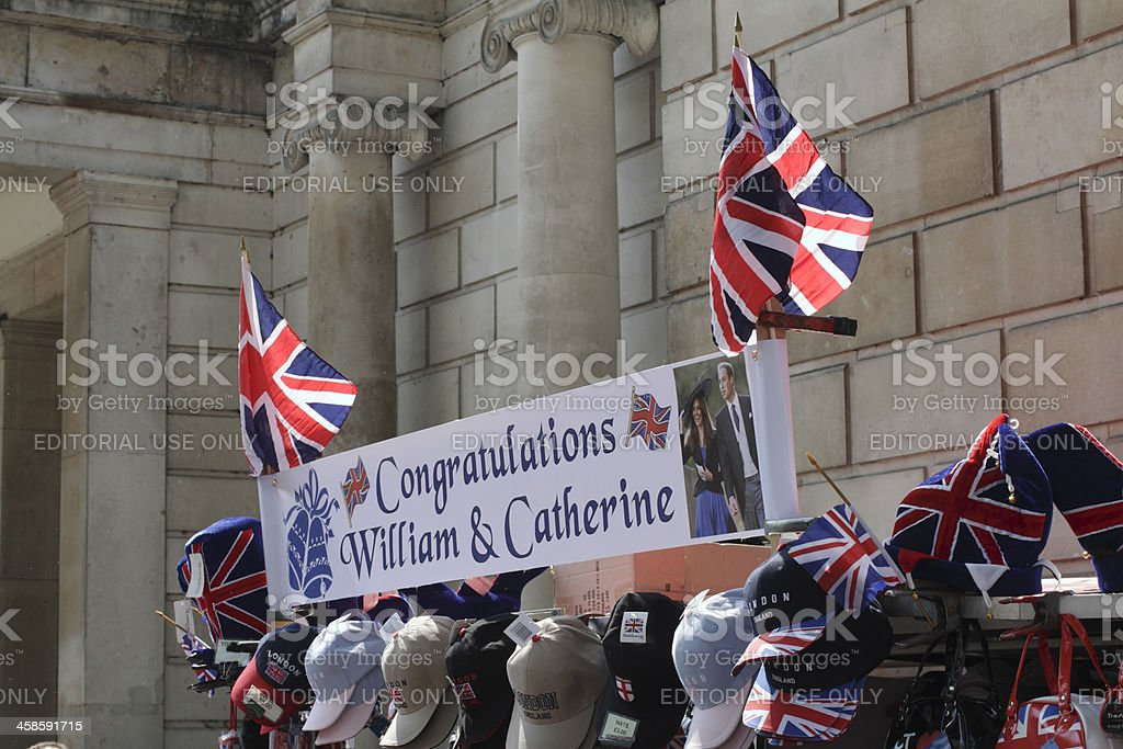 Bunting for the royal wedding Prince William Kate Middleton stock photo