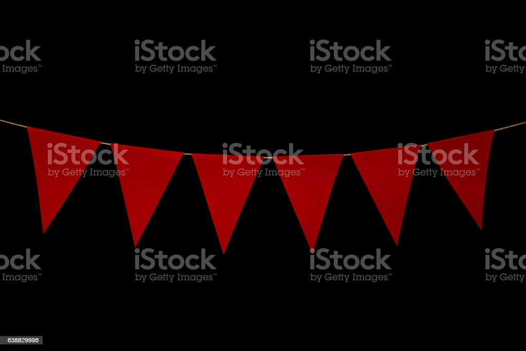 Bunting, six red triangles on string for banner message stock photo