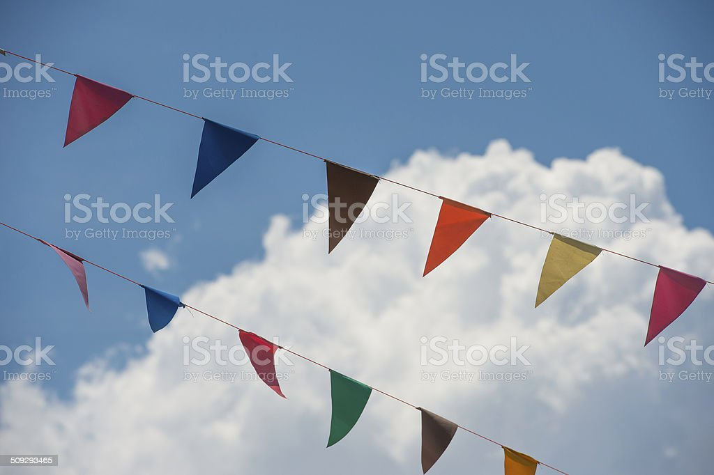 Bunting with the blue sky stock photo