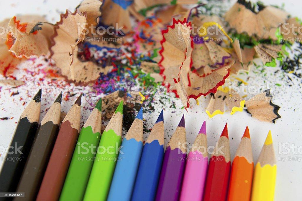 Buntstifte mit Abfall stock photo